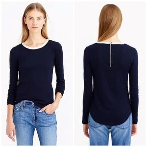 J. Crew Navy Blue Painter Tee with Leather Trim